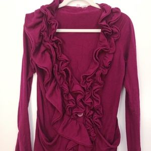 Sweaters - Magenta ruffled cardigan